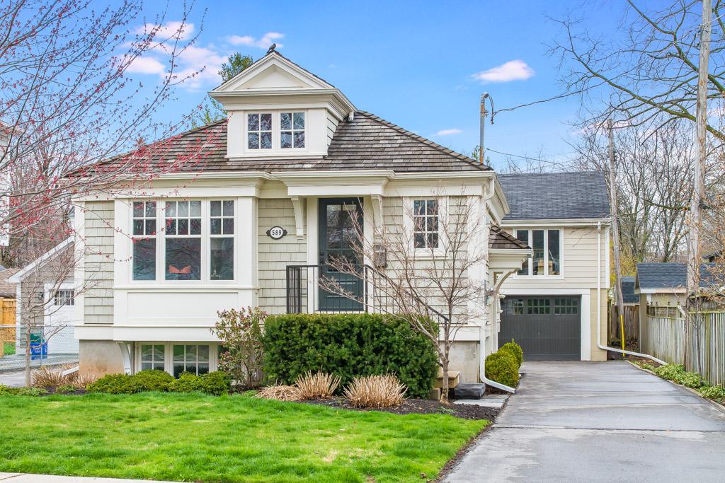 Front of a renovated home with cedar shingles on Clark Avenue, Burlington