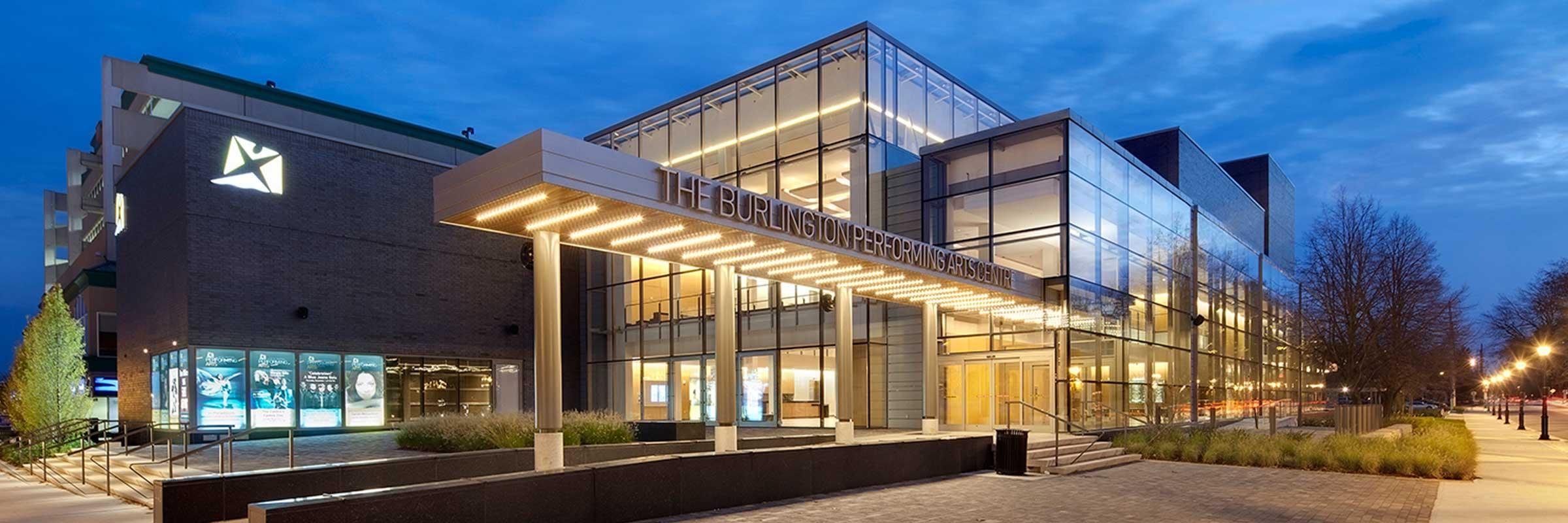 Burlington Performing Arts Centre at night