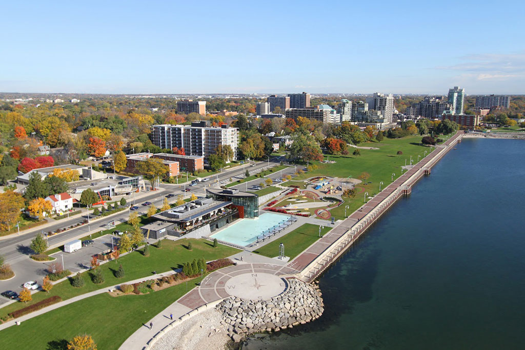 Aerial view of Spencer Smith Park and Discovery Landing in downtown Burlington