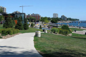 View of Spencer Smith Park with the Lake Ontario and Discovery Centre