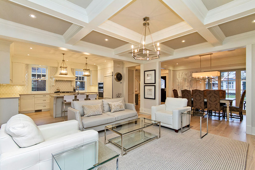 Stunning grand open plan living area of Tudor House suite 1 furnished rental in downtown Burlington