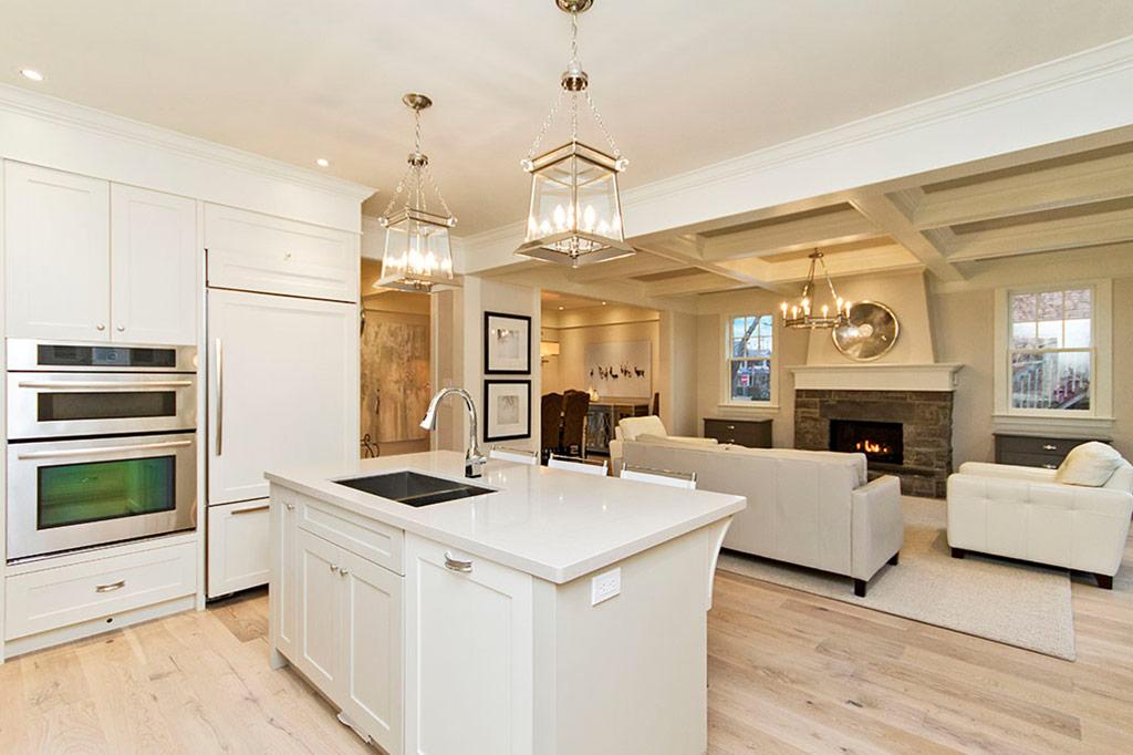 Kitchen island in Tudor House suite 1 furnished rental in downtown Burlington
