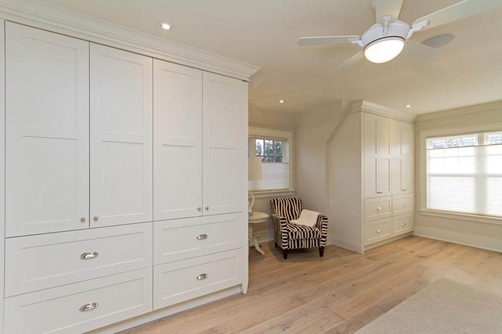 Master bedroom closets in Tudor House suite 1 furnished rental in downtown Burlington