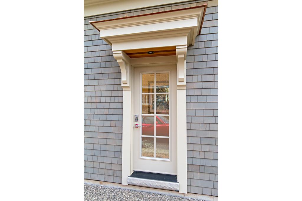 Front door to Tudor House suite 2 furnished rental in downtown Burlington