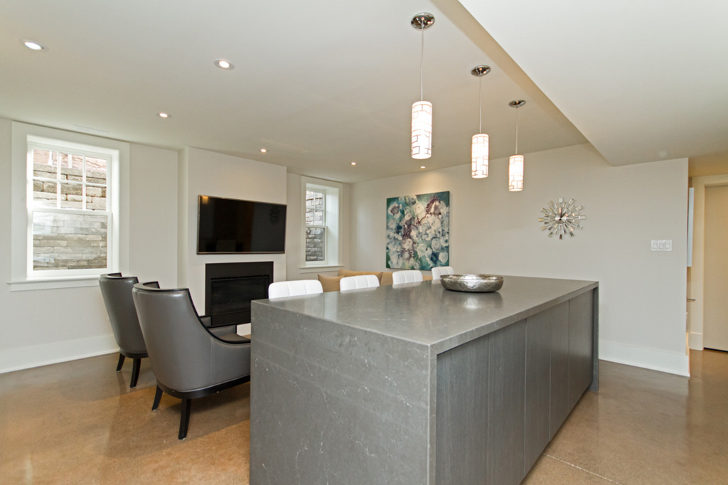 Kitchen island Tudor House suite 2 furnished rental in downtown Burlington