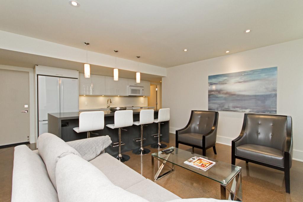 Living room Tudor House suite 2 furnished rental in downtown Burlington