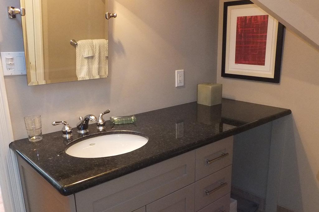 Bathroom vanity in suite 4 of the Gingerbread House in Burlington.