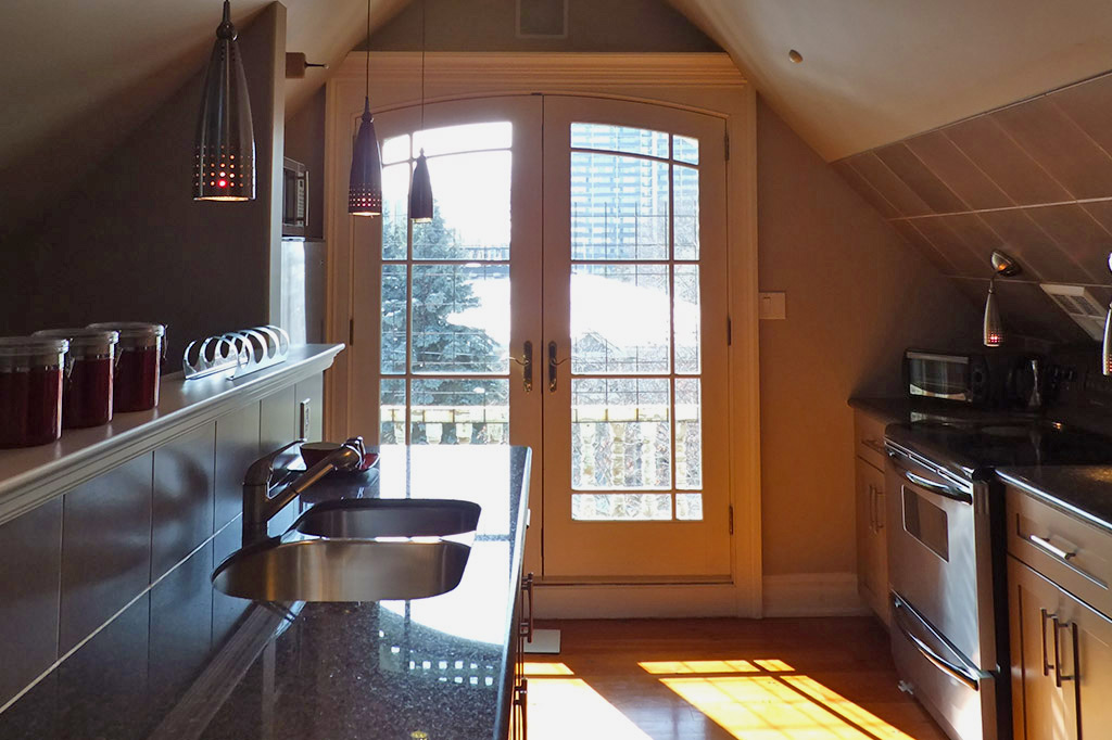 View from kitchen patio doors in suite 4 of the Gingerbread House in Burlington.
